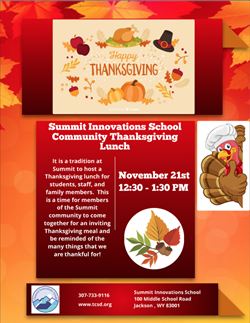 Summit annual Thanksgiving lunch for students and families