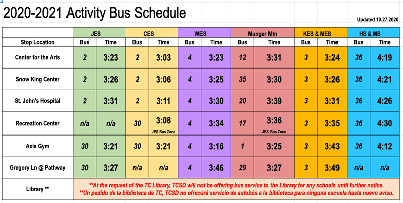20-21 activity bus schedule