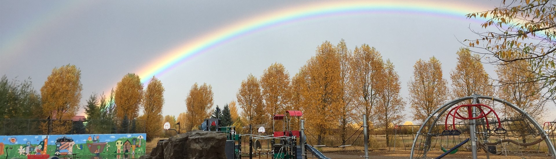 Rainbow over the Wilson Elementary School playground
